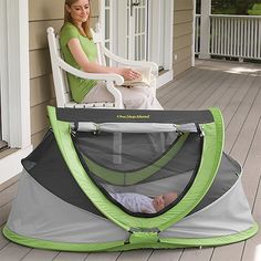 """Outblush.com recommends our exclusive Peapod Travel Bed!  """"We'll admit it: when it comes to our babies, we're germ snobs. Our own at-home germs are fine, but we'd rather not have our offspring licking the floors of strangers. That's why we do our visiting with this PeaPod Plus Baby Travel Bed. In folded-up form, it's compact and easy to carry - always a plus - but easily expands to create a plush nest."""""""