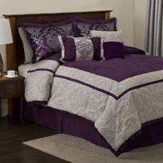 Lush Decor Delila Queen 6 Piece Bed In A Bag by Lush Decor Bedding: The Home Decorating Company Plum Comforter Set, Purple Bedding, Queen Comforter Sets, Bedding Sets, Home Bedroom, Bedroom Decor, Bedroom Ideas, Master Bedroom, Console