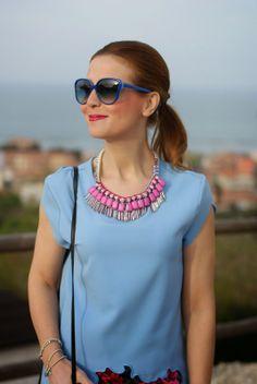 Sodini collana rosa, Sodini bijoux pink necklace, zara bonsoir bag, Fashion and Cookies, fashion blogger