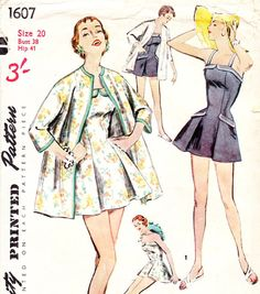 Vintage 1950s swimsuit sewing pattern - Simplicity 1607 - bust 38