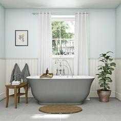 The Bath Co. Camberley gloss grey traditional freestanding bath 1500 x 720 - reipty. Elegant Interior Design, Bathroom Interior Design, Home, Traditional Baths, Bath, Bedroom With Bath, Cottage Bathroom, Free Standing Bath, Cheap Farmhouse Decor