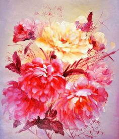 живопись - натюрморт, купить картину Прекрасные пионы.худ.А.Джанильятти(1257)