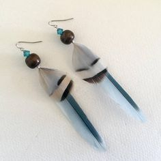 Blue Feather Earrings Natural Parrot and Pheasant Cruelty Free by noogal creations