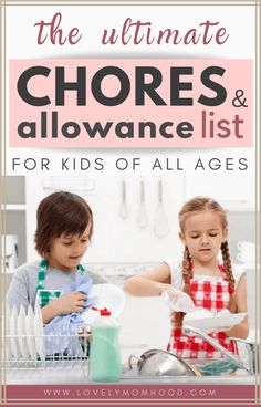 Assigning chores for kids sets a great foundation towards adulthood. Here is the Ultimate Chores for Kids List by age, allowance amount suggestions, chore charts, chore rewards, and more. Allowance Chart, Chores And Allowance, Allowance For Kids, Age Appropriate Chores For Kids, Chores For Kids By Age, Chore List For Kids, Kid Chores, Toddler Chores, Boy Toddler