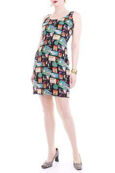 6169ca78cdf Vintage Nicole Miller Silk Vacation Print Tank Dress Women s Size Small