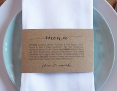 This menu is designed to wrap around your napkins that will give your table decoration an amazing impact.  PLEASE NOTE: This listing is for a digital file only, NO physical goods will be mailed to you.  You can print this design on any coloured paper stock. I have used a Brown Kraft paper stock, but it will work perfectly on white, ivory… the list is endless.   Feel free to contact me if you would like to add colour into the design.  You will receive a PDF file via email that you can then…