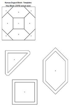Kansas Dugout Quilt Block - free templates -Edit in 2015- now they are very low priced templates (pdf files)
