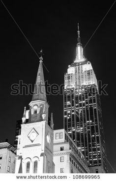 New York City, Ny - Dec 30: Empire State Building And Church On December 30, 2011 In New York City. It Is A 102-Story Landmark And Was World'S Tallest Building For More Than 40 Years. Stock Photo 108699965 : Shutterstock