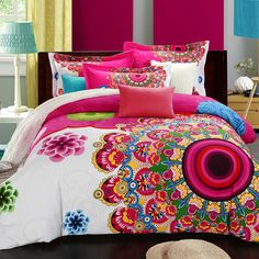 2560a4b597e6 Boho Bedding Set Floral Bed Linen Home Textiles Printed Duvet Cover 4Pcs  Twin Queen King Size On Sale-in Bedding Sets from Home   Garden on  Aliexpress.com ...