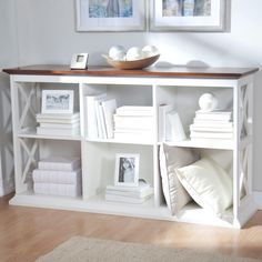 A Hayneedle exclusive, the Belham Living Hampton Console Table 2 Shelf Bookcase - White/Oak offers a clean, crisp style that works. 2 Shelf Bookcase, Wood Shelves, Bookcase White, Bookshelf Ideas, Crate Shelving, Bookshelf Table, Bookshelf Organization, Ikea Shelves, Bookshelf Styling