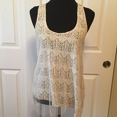 SALE  Daytrip Ivory Mesh & Lace Tank This has been gently used twice & is in excellent condition.  Pictures do not do this beautiful, dressy blouse justice. It's an ivory lace partially overlaid with mesh & a raw hem. Daytrip Tops Tank Tops