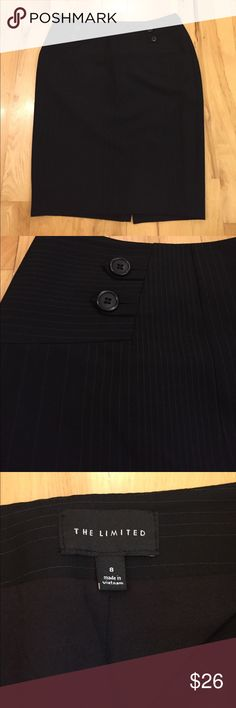 The limited women's size 8 skirt The limited women's size 8 black and whit  pin-stripe skirt. Skirt has a zippered closure on the side and a small slit in the back. Skirt is about 22 inches from the top to the bottom and only worn probably twice. The Limited Skirts