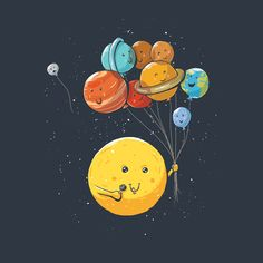 Solar Balloons Tee Outter Space Shirt – Oh NO Pluto is floating away! Iphone Wallpapers, Wallpaper Iphone Cute, Cute Wallpapers, Wallpaper Backgrounds, Planets Wallpaper, Galaxy Wallpaper, Cartoon Wallpaper, Tumblr Girly, Funny Doodles