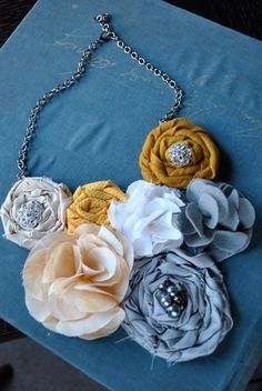 Yellow and Gray Fabric Flowers Statement Bib Necklace $48