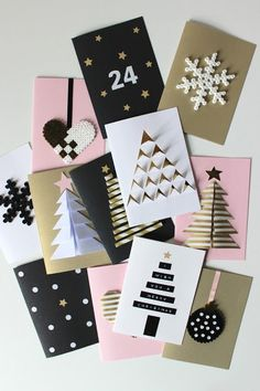12 Easy Handmade Holidays Decorating Ideas to Try This Weekend – Petit & Small – Christmas DIY Holiday Cards Diy Christmas Cards, Christmas Decorations, Kids Christmas, Christmas Design, Paper Decorations, Black Christmas, Christmas Paper, Christmas Pictures, 242
