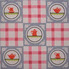 Kokka Linen Retro Kitchen Check Pink on Natural 1/2 METRE