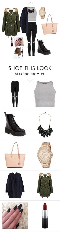 """""""Untitled #45"""" by patriii12 ❤ liked on Polyvore featuring Topshop, Free People, Jeffrey Campbell, MICHAEL Michael Kors, FOSSIL and MAC Cosmetics"""