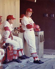 St. Louis Cardinals Manager, Red Schoendienst standing in the dugout. Photograph by Irv Schankman/Dorrill Photo, ca. 1963-64. Missouri History Museum Photograph and Prints Collections.