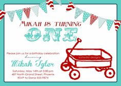 little red wagon, first birthday party invitation