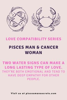 """With Pisces man and Cancer woman both being water signs, they're able to """"get"""" each other and could possibly make for a long lasting type of love. They're both emotional and tend to have deep empathy for other people. Keep reading to find more about this match! Pisces Man, Water Signs, Love Compatibility, Cancer Man, Other People, How To Get, Deep, Woman, Reading"""