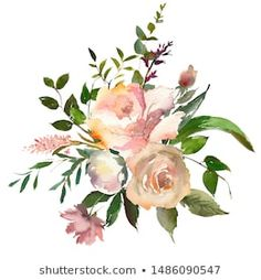 Similar Images, Stock Photos & Vectors of Watercolor drawing of a branch with leaves and flowers. Composition of pink roses, wildflowers and garden herbs Decorative bouquet isolated on white background. Simple Watercolor Flowers, Easy Watercolor, Watercolor Drawing, Floral Watercolor, Floral Backround, Blush Wine, Botanical Illustration, Wildflowers, Pink Roses