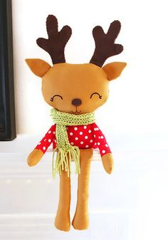 Reindeer Sewing Pattern Plush Toy Christmas Woodland PDF Sewing Pattern for Nursery Decor, Mantel or Bookshelf. $10.00, via Etsy.