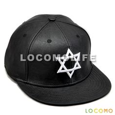 Men Women Faux Leather Black Star Of David Magic Embroidery Cap