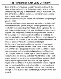 """Fishermans Knot Unity Ceremony - change """"mutual concern"""" to """"unconditional love"""" Wedding Prayer, Wedding Knot, Wedding Ceremony Readings, Wedding Ceremony Script, Unity Ceremony, Wedding Rituals, Wedding Ties, Dream Wedding, Wedding Ceremonies"""
