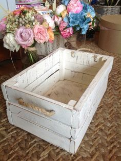 Shabby Chic, Vintage Style Wooden Wedding Storage Crate / Keepsake Box -confetti holder