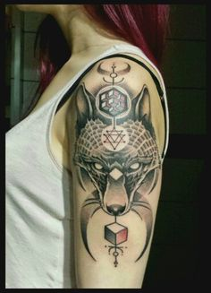 fox geometric dotwork tattoo