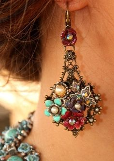 Bohemian style earrings. These are quite large but could be made with small enamel flowers and pearls.