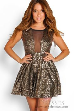 f813a2f9635e I need this dress for New Years Eve! ahhh Sexy Gold Sequins Mesh Skater  Dress