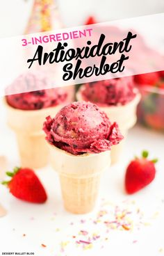 3-Ingredient Antioxidant Sherbet! Yes, healthy sherbet packed with antioxidants! It's secretly guilt-free and only 3 ingredients. It's nice and sweet, you'd never know it's all natural, refined sugar free, fat free and gluten free.  Oh, and it's just 62 calories per serving!