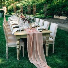 This rustic wooden table contrasted with a luxurious blush pink table runner combined natural elements with those of sophistication to create a unique table setting. Party Table Decorations, Wedding Table Centerpieces, Outdoor Decorations, Wedding Reception, Wedding Venues, Reception Ideas, Destination Wedding, Pink And Gold Wedding, Wedding Navy