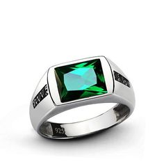 Classic Men's Emerald Ring with Black Onyx Accents in 925 Sterling Silver #jewelsformen #ringforman #gem #cybermondaydeals #blackfriday2017 #cybermonday2017 #emerald