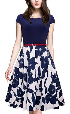 24 Casual Dress for Spring 2017 Women's Vintage Elegant Cap Sleeve Swing Party Dress Dark Blue Modest Dresses, Cute Dresses, Beautiful Dresses, Dresses For Work, Work Outfits, Outfit Work, Ladies Dresses, Nice Outfits, Party Dresses For Women