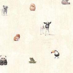 Tate Beige Animal Alphabet Wallpaper - Wallpaper