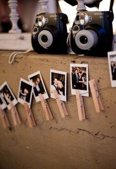 Have these cameras set out around the venue and string up some clothespins for guests to leave you wedding memories. Genius!