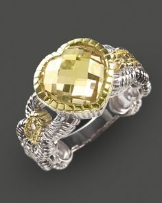 Judith Ripka Canary Crystal and Sterling Silver Heart Ring with Diamonds - All Designers - Featured Designers - Fine Jewelry - Bloomingdale's
