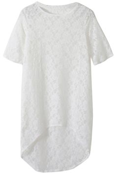 Asymmetric Crochet White Blouse. Description White blouse, featuring scoop neck, short sleeves, crochet design throughout, asymmetric hem, extra long length. Fabric Polyester. Washing Cool hand wash. #Romwe