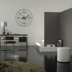 Great design for an office, the wallpaper pattern and colors are unobtrusive.