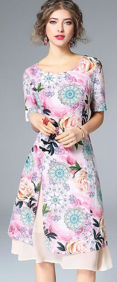 Romantic O-Neck Short Sleeve Floral Print Split Silk Dress