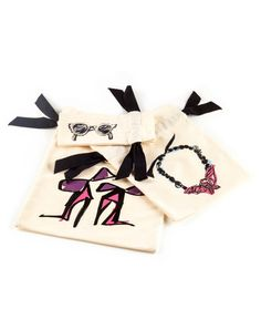 Exclusive set of 3 cotton travel bags with gros grain ribbon: shoes, jewelry and glasses. Original drawings by Alber Elbaz. LANVIN