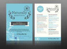 naturally beautiful spa leaflet health beauty vintage flyer design print retro mobile best