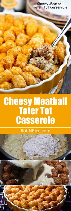 This Cheesy Meatball Tater Tot Casserole is comfort food for the meat and potato lover. It is warm, delicious, satisfying, and so easy to prepare. | RotiNRice.com