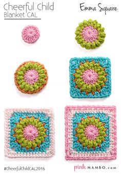 Step by Step - Cheerful Child Emma Square Blanket CAL Pink Mambo Guest Post