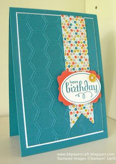 handmade birthday card from KB Papercraft ... luv how the color combo came from the designer paper ... turquoise and orange ... like the thing white mat to define the main panel .... honeycomb embossing folder texture ...  Stampin'Up!