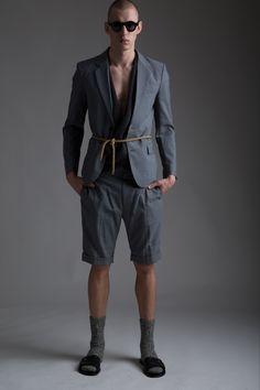 Men's Nom de Guerre Blazer and Shorts, Vintage Men's Issey Miyake Knit Top, Yves Saint Laurent Stefano Piloti Rope Belt. Designer Clothing Dark Minimal Street Style Fashion