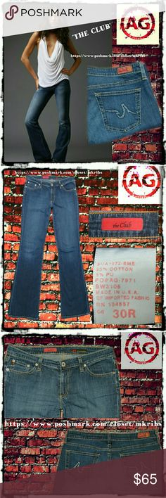 AG The Club bootcut 30 x 33 jeans Adriano Goldschmied bootcut midrise jeans with stretch.  8 inch rise, 33 inch inseam. Like new! NO TRADES PLEASE! OFFERS WELCOME THROUGH OFFER FEATURE ONLY PLEASE AG Adriano Goldschmied Jeans