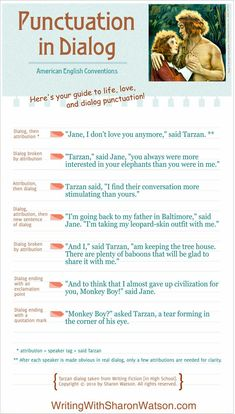 Grammar Tutorial: Punctuation in Dialog infographic - Be sure your basic punctuation is right during editing.